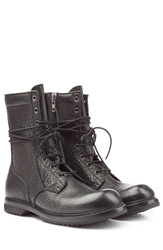 Rick Owens Men Textured Leather Army Boots