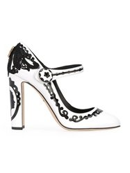 Dolce And Gabbana Baroque Patterned Mary Jane Pumps White