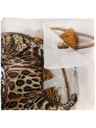 Dolce And Gabbana Cat Print Scarf White