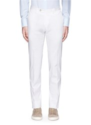 Isaia Washed Slim Fit Chinos White