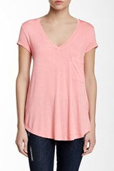 H By Bordeaux Classic V Neck Tee Pink