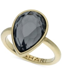 T Tahari Gold Tone Mixed Jewels Pear Stone Ring