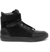 Brioni James Suede And Leather High Top Sneakers Black