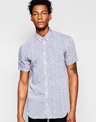 Minimum Short Sleeve Button Down Shirt Navy