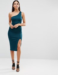 Ax Paris One Shoulder Midi Dress With Thigh Split Teal Green