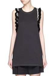 3.1 Phillip Lim Stripe Ruffle Trim Jersey Tank Top Black