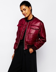 Wood Wood Greta Bomber Coat In Cordovan Cordovanburgundy