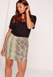 Missguided Plus Size Snake Faux Leather Mini Skirt Khaki Beige