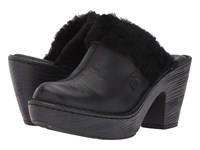 Born Prespa Black Black Shearling Combo Women's Clog Shoes
