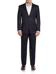 Tommy Hilfiger Slim Fit Dotted Striped Wool Suit Navy