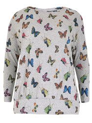 Samya Plus Size Knitted Butterfly Print Top Grey