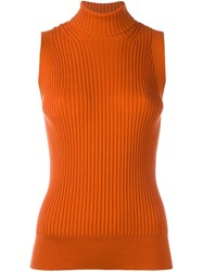 Maison Martin Margiela Sleeveless Knit Top Yellow And Orange