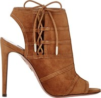 Aquazzura Oui Baby Ankle Booties Brown