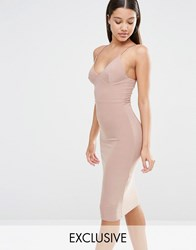 Club L Midi Dress With Cami Strap Light Taupe Brown