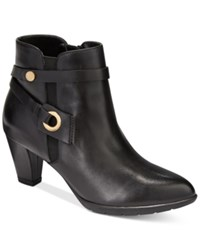 Anne Klein Chelsey Zippered Booties Black Leather