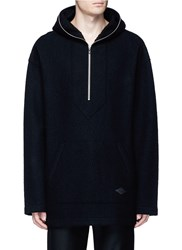 Rag And Bone 'Drexel' French Terry Patch Wool Hoodie Black