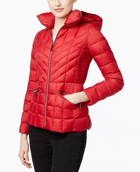 Michael Kors Packable Down Hooded Quilted Puffer Jacket Red