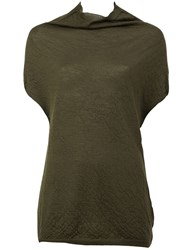 Rick Owens Funnel Neck Knit Top Green