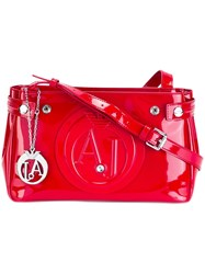 Armani Jeans Embossed Logo Crossbody Bag Red
