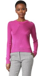 Derek Lam Cable Sweater With Button Detail Fuchsia