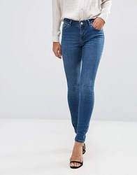Asos Lisbon Mid Rise Skinny Jeans In Abbie Wash Mid Wash Blue