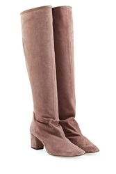 Repetto Suede Knee High Boots Rose