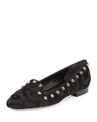 Valentino Rockstud Leopard Pattern Calf Hair Loafer Black