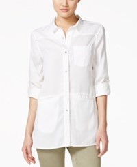 Calvin Klein Jeans Three Quarter Sleeve Button Front Shirt Classic White