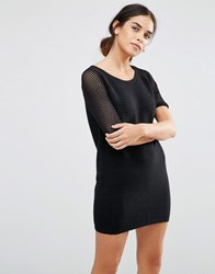 See U Soon Knitted Dress With Grid Sleeves Black