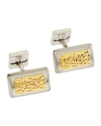 Ike Behar Two Tone Hammered Rectangle Cuff Links