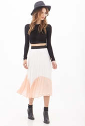 Forever 21 Accordion Pleated Colorblock Midi Skirt