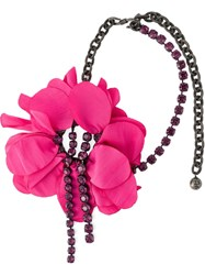 Lanvin Flower Pendant Necklace Pink And Purple