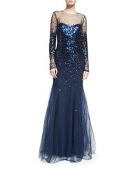 Monique Lhuillier Long Sleeve Degrade Sequin Illusion Gown Midnight