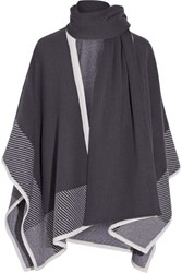 Duffy Wool And Cashmere Blend Poncho Dark Purple