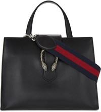 Gucci Dionysis Tiger Clasp Leather Tote Black