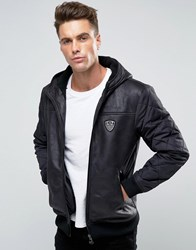 Emporio Armani Ea7 Faux Leather Jacket With Quilted Sleeves Black