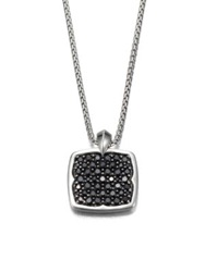 Stephen Webster Rayman Pendant Necklace Sterling Silver Black Sapphire