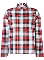 Cedric Charlier Checked High Neck Shirt Red