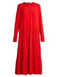 N 21 Embellished Collar Pleated Tiered Maxi Dress