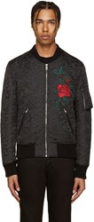 Dolce And Gabbana Black Flower Brocade Bomber Jacket