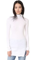 Helmut Lang Fitted Turtleneck Top Ecru