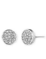 Anne Klein Silvertone And Crystal Button Stud Earrings