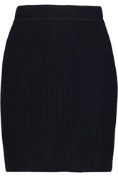 Helmut Lang Chunky Knit Wool And Cashmere Blend Mini Skirt Blue