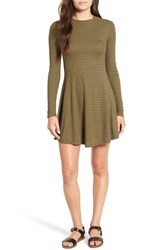 Lush Junior Women's Long Sleeve Knit Dress Olive Black Stripe