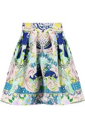 Mary Katrantzou Algernon Printed Satin Mini Skirt Green