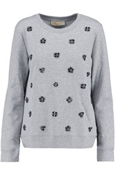 Michael Michael Kors Crystal Embellished Cotton Blend Sweatshirt Gray