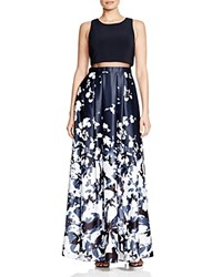 Aqua Illusion Waist Printed Skirt Ball Gown Navy White