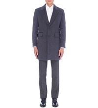 Hardy Amies Textured Wool Overcoat Blue
