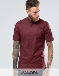 Only And Sons Skinny Smart Short Sleeve Shirt Burgundy Red