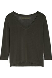 Enza Costa Open Knit Cotton Blend Top Dark Brown